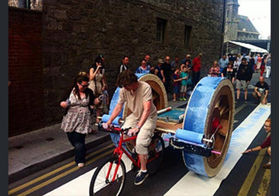 Design and Build team: Kevin O' Keefe, Pamela Dunne, Kate O' Shea & Pat O' Mahony.  The bike that prints is one of the pop up printmaking projects commissioned by Limerick Printmakers, City of Culture and LSAD masters students Stephanie O' Reilly.